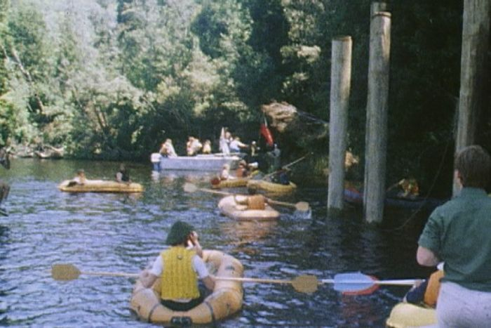 Protesters rafted the Gordon River in 1982 to stop the Franklin Dam project.