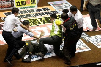 Taiwanese politicians come to blows on the floor of parliament