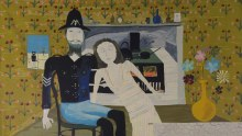 Sidney Nolan (1917-1992) Constable Fitzpatrick and Kate Kelly tapestry, based on the painting of the same name, 1946.