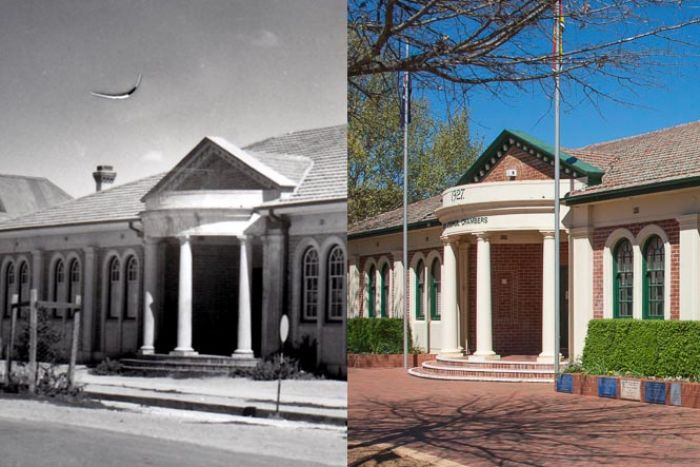 The School of Arts building (c1926) on Crawford Street is now the Queanbeyan City Council chambers.