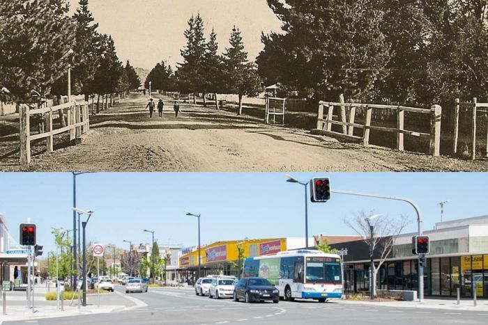 Crawford Street near Morisset Street in 1908 and today.