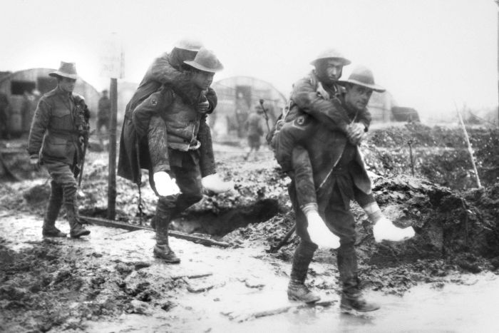 Men with trench foot
