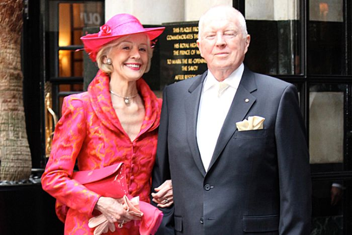 Governor-General Quentin Bryce with her husband Michael Bryce pose for a photograph before the royal wedding in London