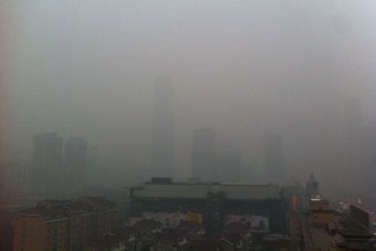 Smog covers downtown Beijing