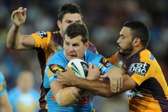 Greg Bird busts forward for the Titans