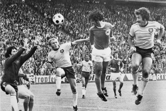 Gerd Muller scores for West Germany against Australia at the 1974 World Cup