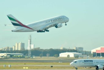 Emirates A380 and Qantas plane