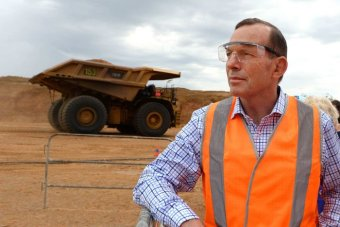 Tony Abbott visits a newly opened Queensland coal mine in 2014.