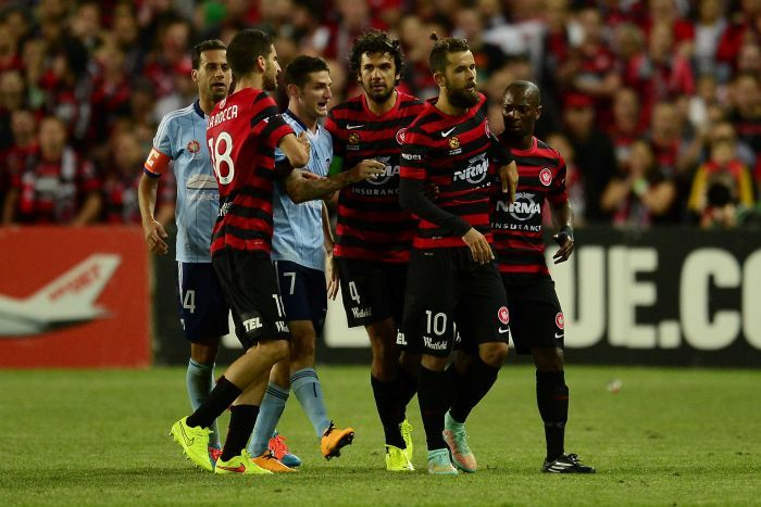 The Wanderers' Vitor Saba leaves the field after his send-off against Sydney FC.