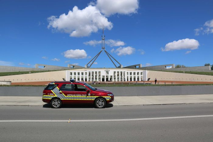 AFP car outside Parliament House