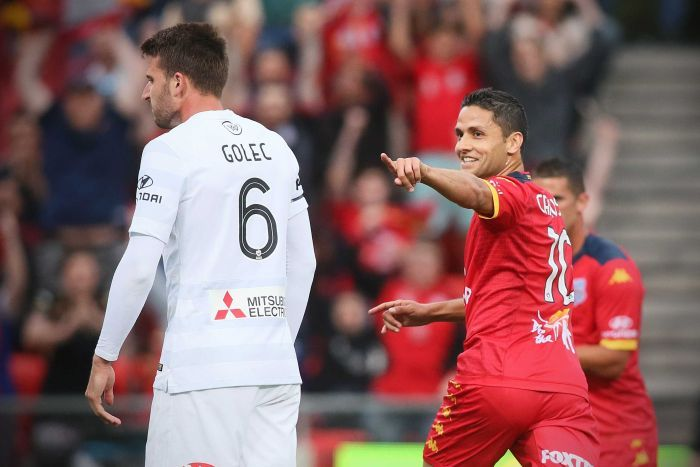 Carrusca celebrates goal against Wanderers