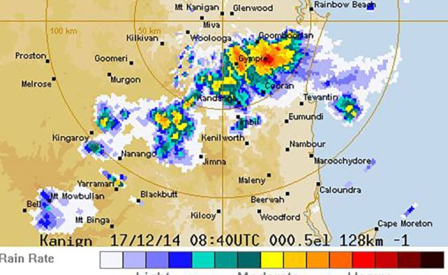 Bom Weather Radar Shows A Dangerous Storm Over Gympie