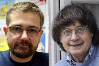 (L to R) Charlie Hebdo (Charlie Weekly) editor-in-chief Stephane 'Charb' Charbonnier, and cartoonist Jean 'Cabu' Cabut.