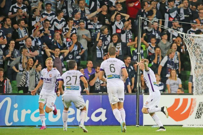 Keogh celebrates goal against Melbourne Victory