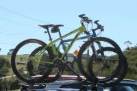 Mountain bikes on a roof rack at Derby's mountain bike ...