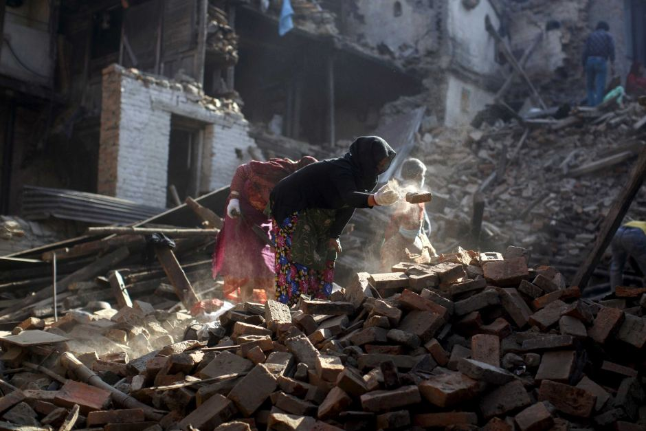 Rubble cleared after earthquake