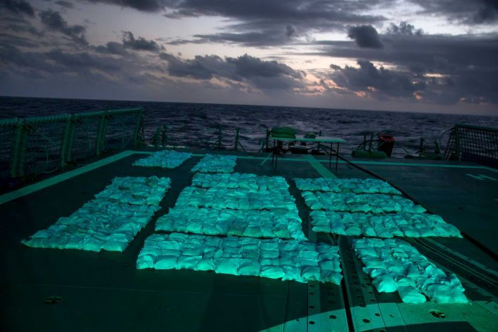 Narcotics from HMAS Newcastle seizure on ship's flight deck