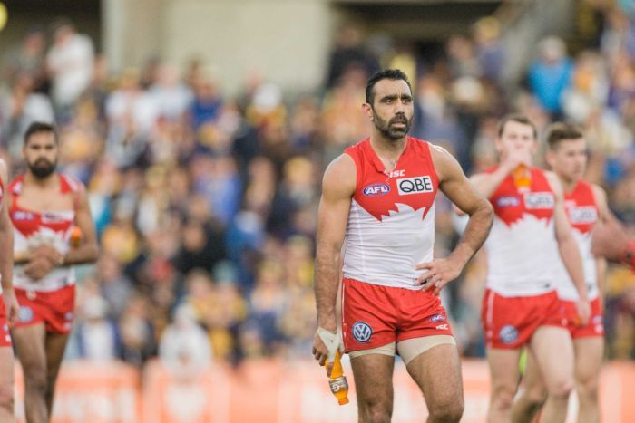 Adam Goodes looks on after Swans' loss to West Coast