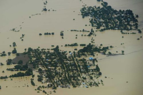 An aerial view shows flooding over Kalay in Myanmar's Sagaing region