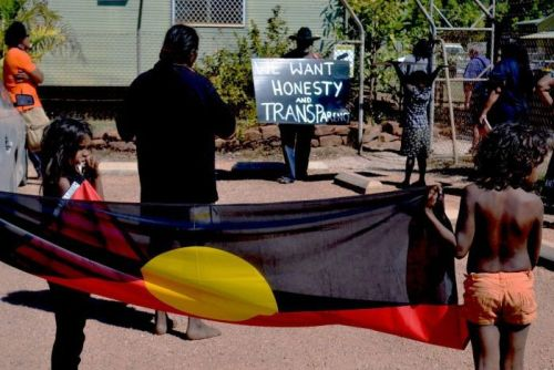 Borroloola community members protest