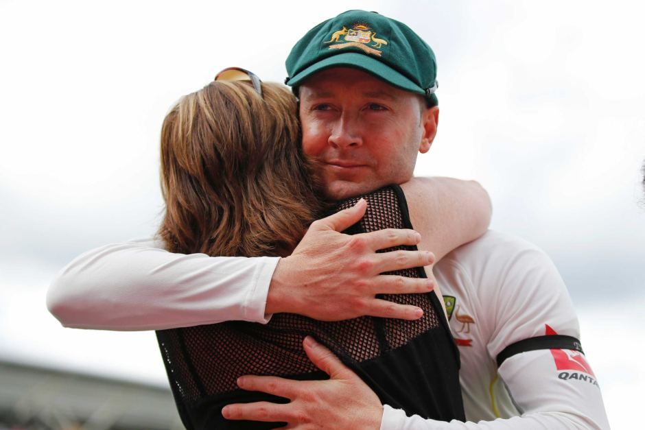 Michael Clarke with wife while announcing his retirement