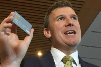 Social Services Assistant Minister Alan Tudge with new welfare card