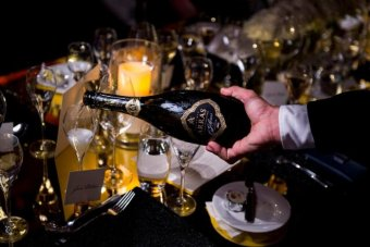 Arras award winning sparkling wine being poured into a glass.