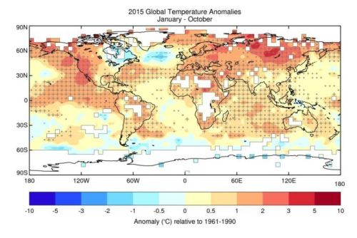 A chart showing the year 2015's temperature changes in Celsius compared to 1961 to 1990