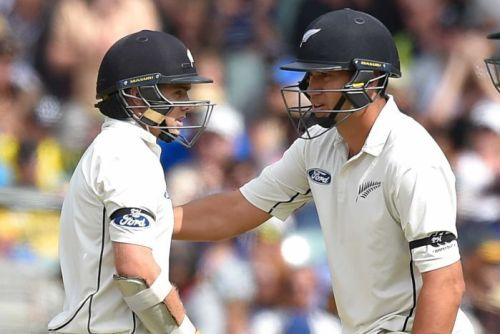 Tom Latham and Ross Taylor at tea in Adelaide
