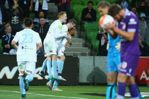 Novillo celebrates goal against Perth Glory