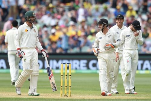 Nathan Lyon and BJ Watling on day two at Adelaide Oval