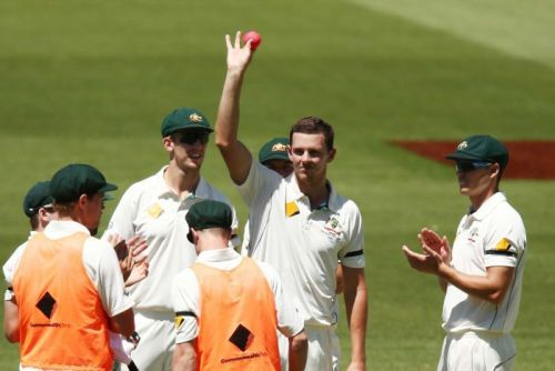Josh Hazlewood celebrates his five wicket haul