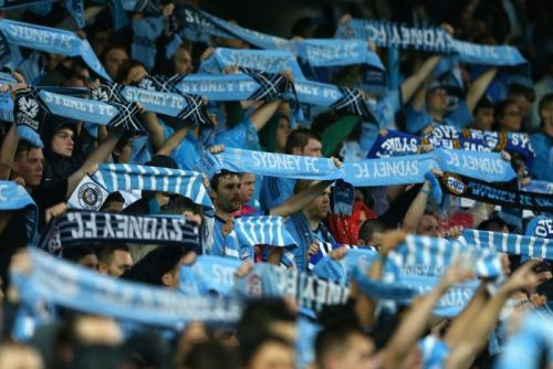 Sydney FC fans show their colours at the Sydney Football Stadium against Melbourne Victory.
