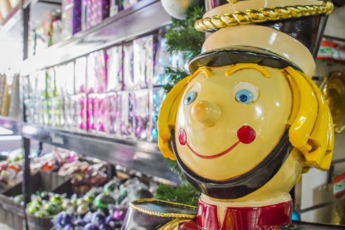 One of the life-sized Nutcracker soldiers used in shopping centres decorations.