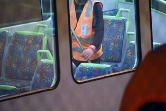 Train cleaners at work in Melbourne