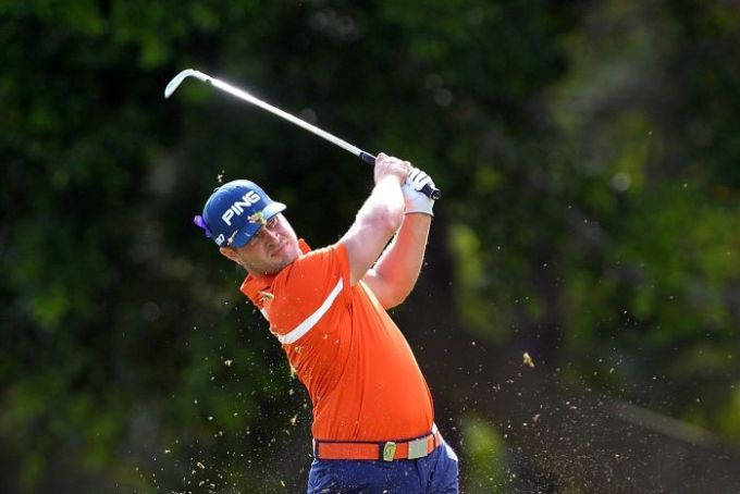 David Lingmerth plays a shot during round two of the PGA Championship