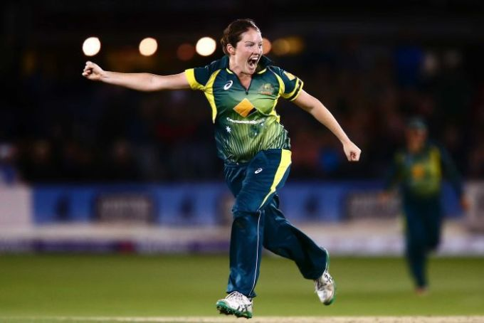 Rene Farrell of Australia celebrates after getting the wicket of Lydia Greenway of England to win the Ashes
