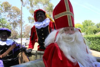 Black Pete characters make an appearance alongside the Dutch Saint Nicholas at the Dutch Embassy.