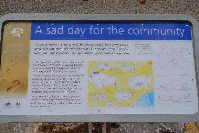 A plaque explaining the deaths of seven sperm whales that beached themselves near Ardrossan