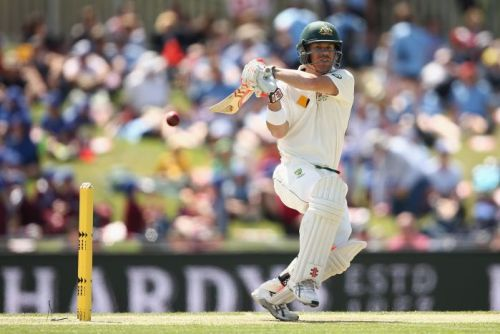 David Warner plays a pull shot