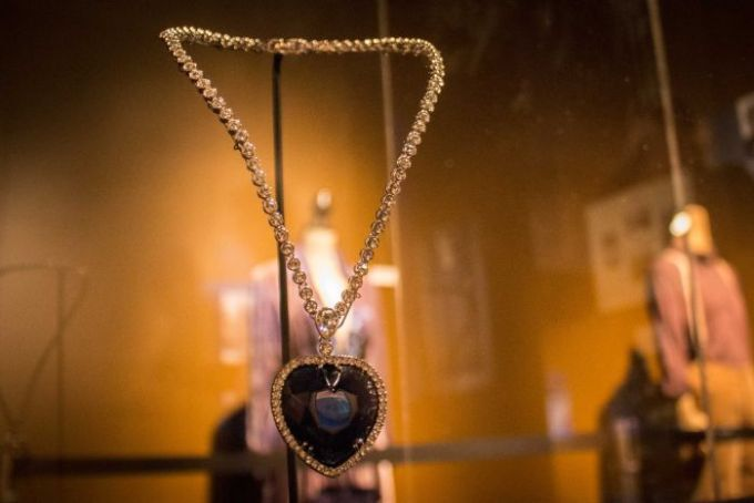 The necklace named the Heart of the Ocean which featured in the movie Titanic at the exhibition. December 11, 2015.jpg