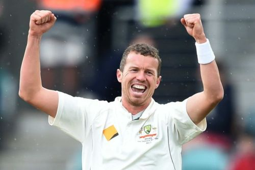 Peter Siddle celebrates the wicket of Jason Holder