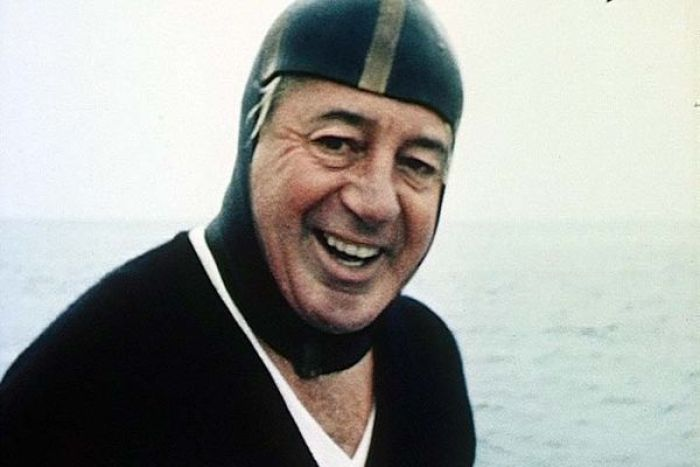 Harold Holt spearfishing off the Great Barrier Reef in 1967.
