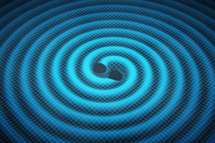 Artists impression of two merging black holes sending gravitational waves ripples through the fabric of spacetime.
