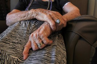 Generic image of the wrinkled hands of an elderly woman