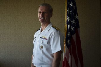 US Vice Admiral Joseph Aucoin attends a press briefing at the US consulate in Sydney on February 22, 2016.