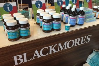 Blackmores vitamin pill bottles display