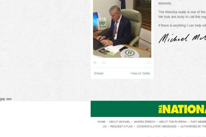 "Michael McCormack's website shows text reading ""gay sex"""