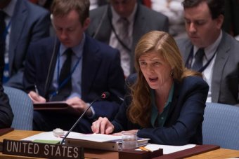 US ambassador to the UN Samantha Power speaks at the UN.