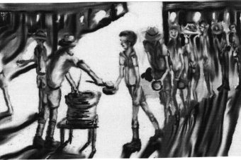 Black and white painting of a prisoner collecting his luchtime rice ration.